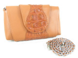 Genuine Alligator Skin Clutch & Shoulder Bag Tan Brown [8859322420391]