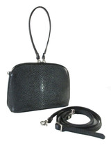 Genuine Polished Stingray Skin Leather Zip Handbag Shoulder Bag Black [8859322412471]
