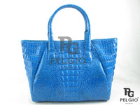 Genuine Crocodile Leather Shopping Bag Blue [CRHH046BU07M]
