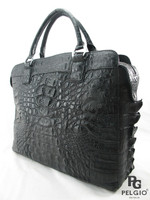 Genuine Caiman Crocodile Hornback Laptop Briefcase Black [CMBF011BK01]