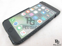 Genuine Polished Stingray Skin Apple iPhone 8 / 8+ / 7 / 7+ / 6 / 6+ / 6S / 6S+ Hard Case All Black