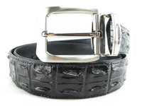 "Genuine Crocodile Double Backbone Skin Men's Belt 46"" Black [8859322421725]"