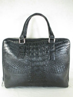 Genuine Crocodile Hornback Luxury Soft Briefcase Black [8859322421343]