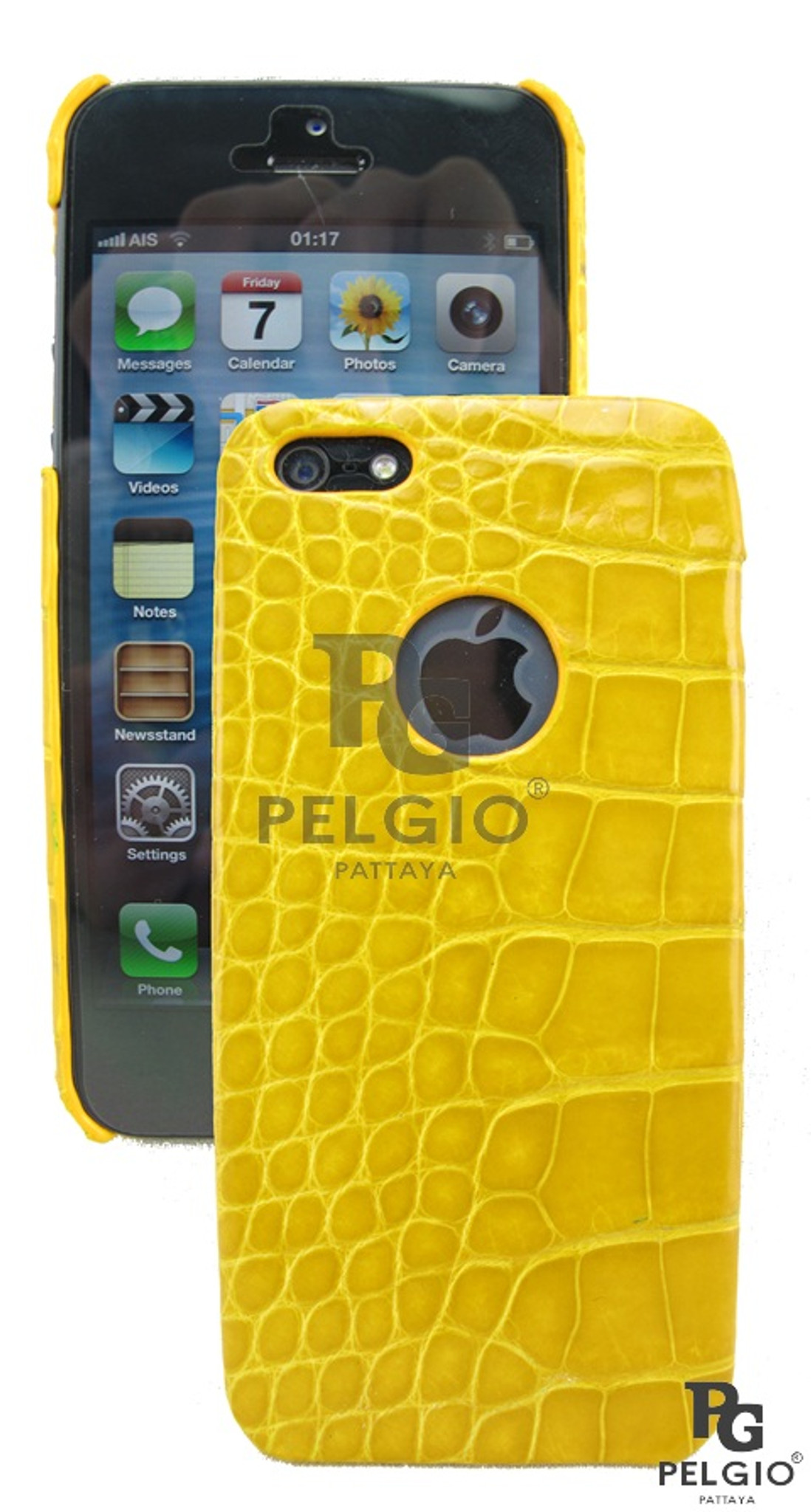 Genuine Crocodile Belly Skin iPhone 5 5S Hard Case Yellow [CRPC003YW01S]