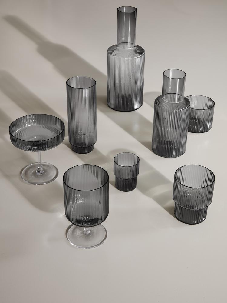FERM LIVING RIPPLE GLASSES SMOKED GREY SET 4