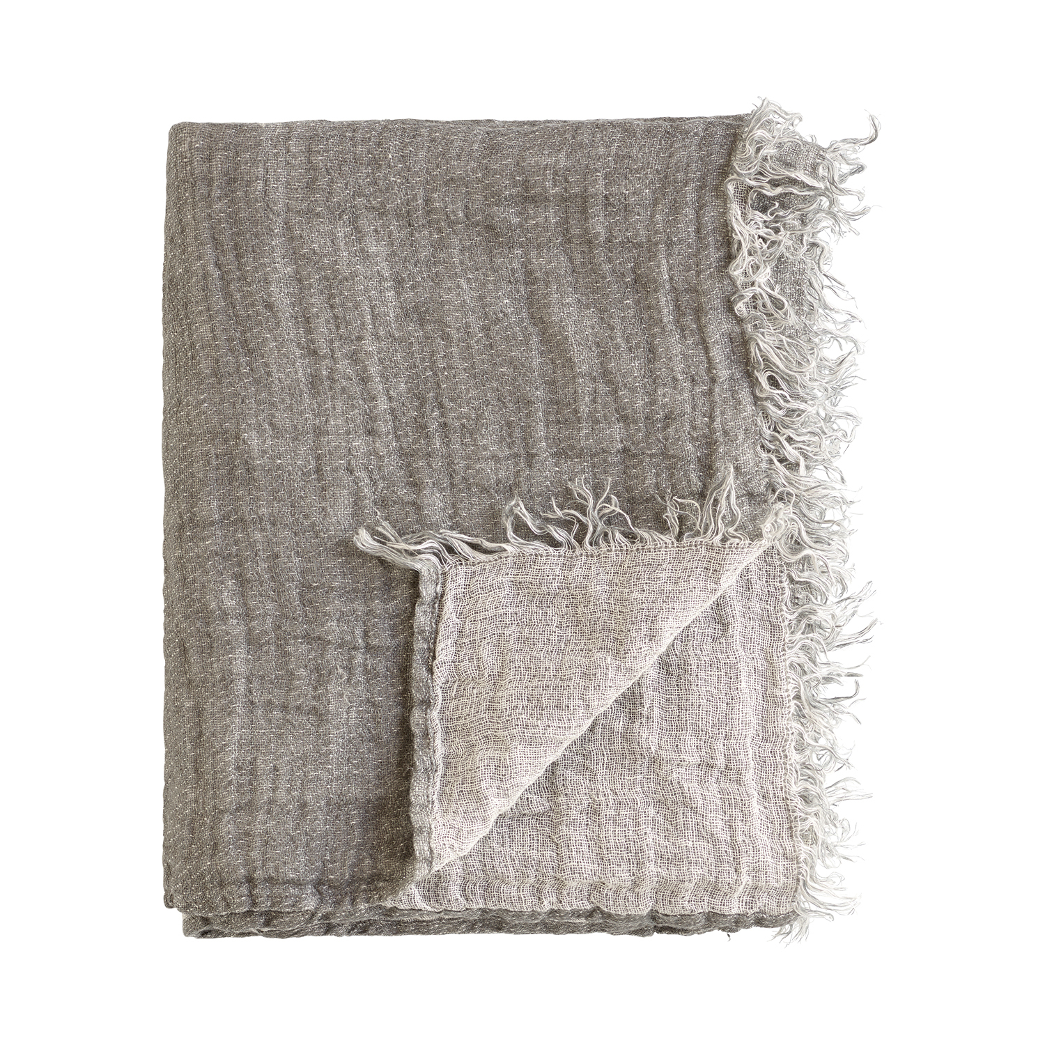 TINE K HOME THROW LINEN GREY PLAID LEINEN GRAU