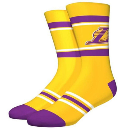 NBA Los Angeles Lakers Stripe Crew Socks - Size Large