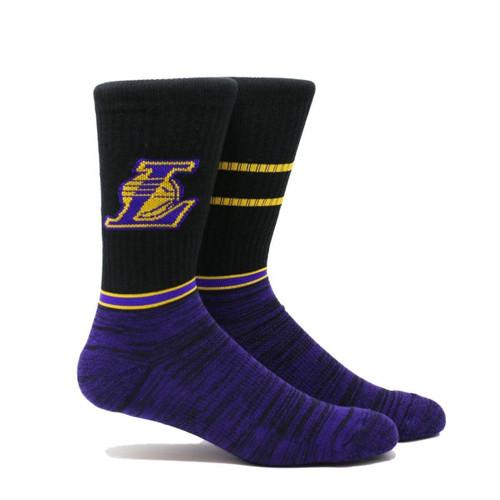 Los Angeles Lakers Block (Black) NBA Golden State Warriors Black Crew Stripe Socks
