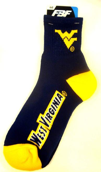 ( SIZE lARGE ) West Virginia Mountaineers Team Quarter Socks