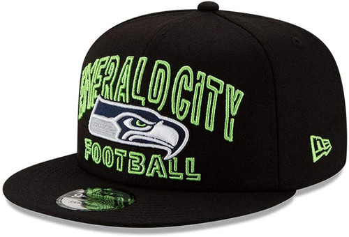 SEATTLE SEAHAWKS EMERALD CITY New Era NFL 9FIFTY Snapback Hat - Black