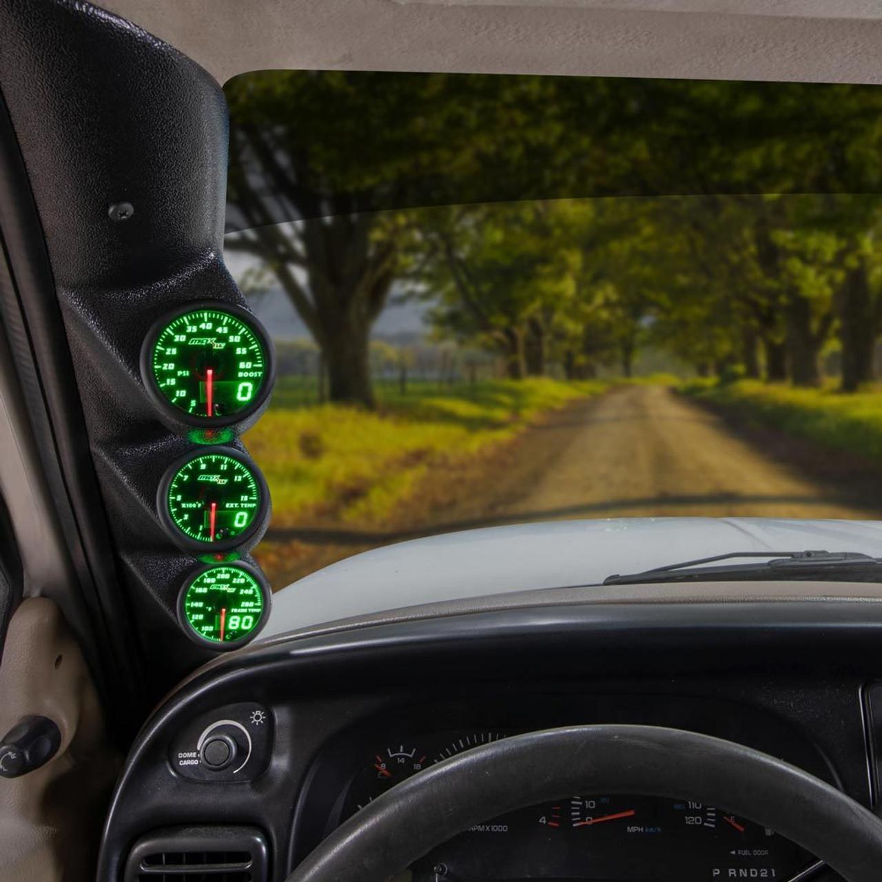 98 02 dodge ram cummins maxtow custom gauge package green maxtow triple gauge package for 1998 2002 dodge ram cummins