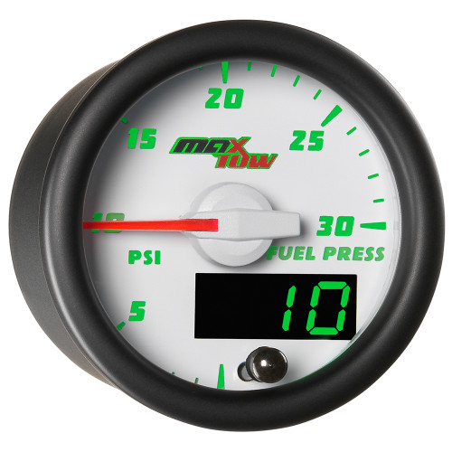 White MaxTow Double Vision 30 PSI Fuel Pressure Gauge