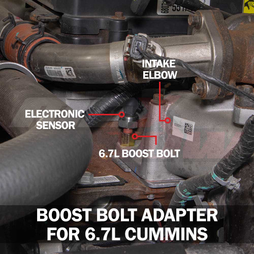 Boost Gauge Bolt Adapter Installed for 6.7L Cummins
