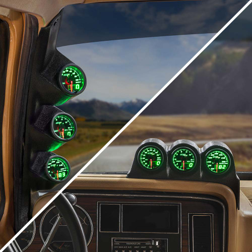 Green MaxTow Triple Gauge Package for 1986-1993 Dodge Ram Cummins