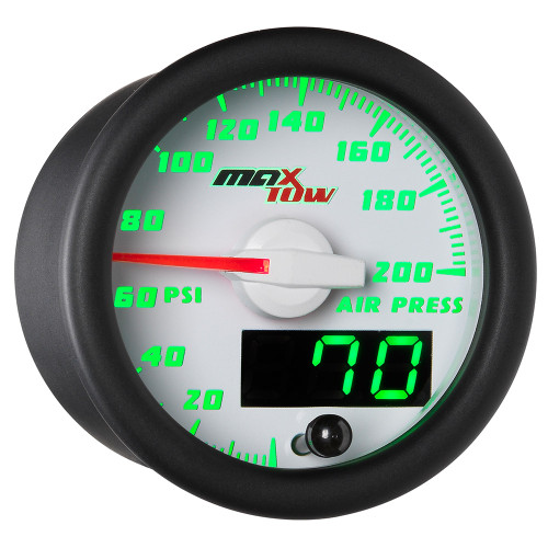 White MaxTow Double Vision Air Pressure Gauge