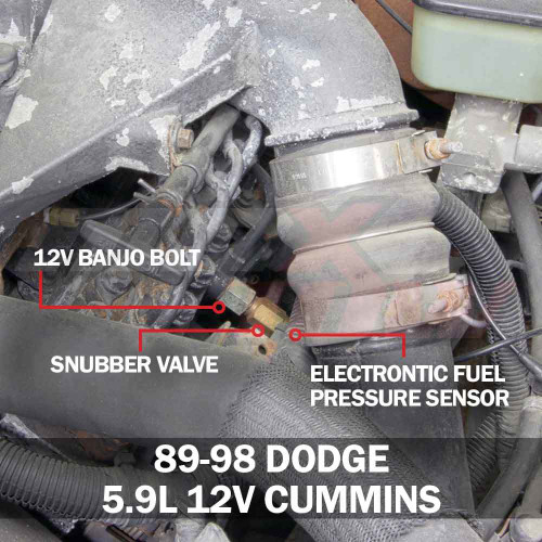 Dodge Ram Cummins 12 Valve Fuel Pressure Banjo Bolt Adapter Installed