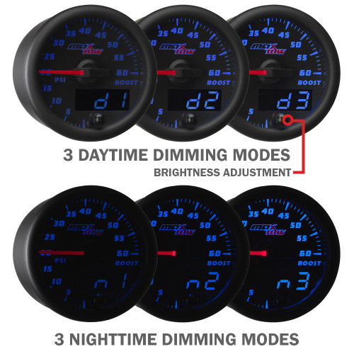 Blue MaxTow Daytime and Nighttime Dimming Modes