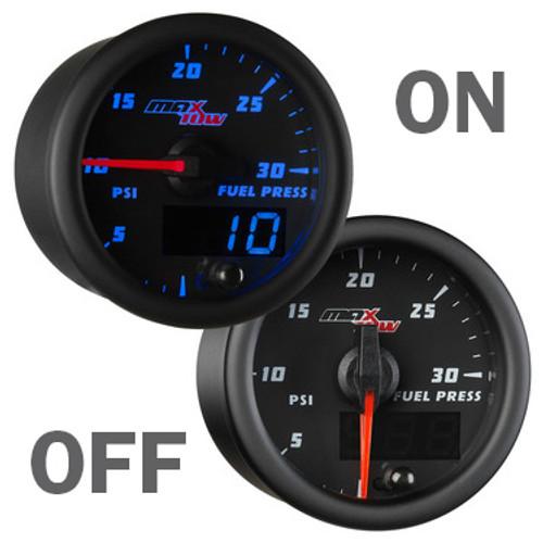 Black and Blue 30PSI Fuel Pressure Gauge On/Off