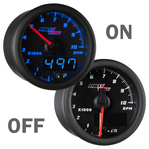 Black and Blue MaxTow 10,000 RPM Gauge On/Off