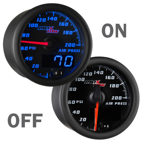 Black and Blue MaxTow Double Vision Air Pressure Gauge On/Off