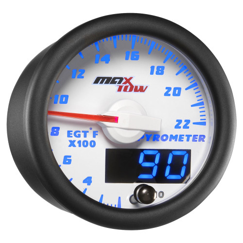 White & Blue MaxTow Double Vision 2200° F Exhaust Gas Temp Gauge