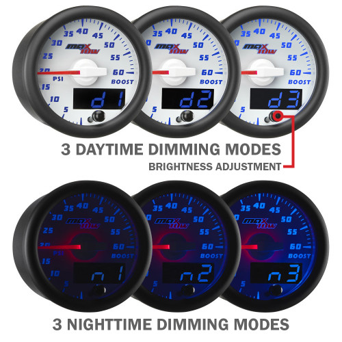 White MaxTow Blue LED Daytime and Nighttime Dimming Modes