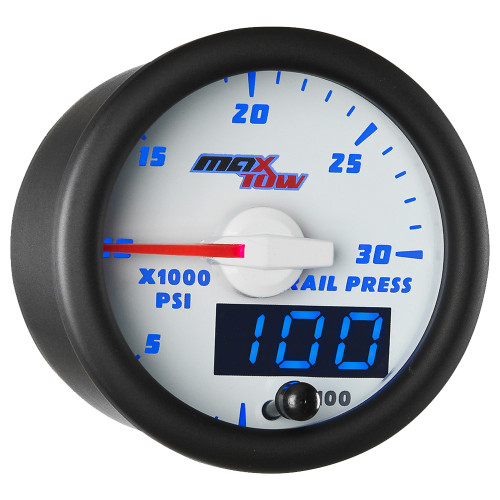 White & Blue MaxTow Double Vision 30,000 PSI Fuel Rail Pressure Gauge