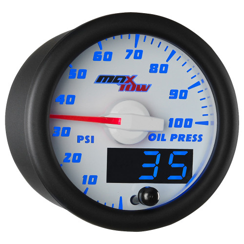 White & Blue MaxTow Double Vision Oil Pressure Gauge