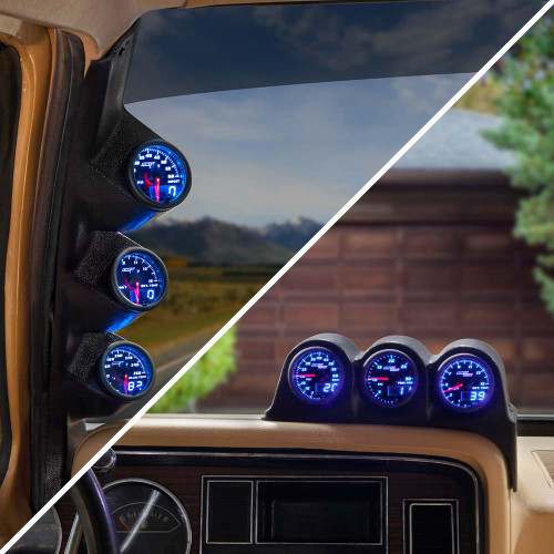 Blue MaxTow Triple Gauge Package for 1986-1993 Dodge Ram Cummins