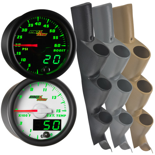 11-16 Ford Super Duty Power Stroke Green MaxTow Custom Gauge Package