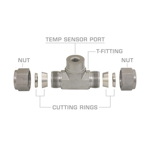 """GM Duramax Allision 1000 5/8"""" Transmission Line T-Fitting Adapter Exploded View"""