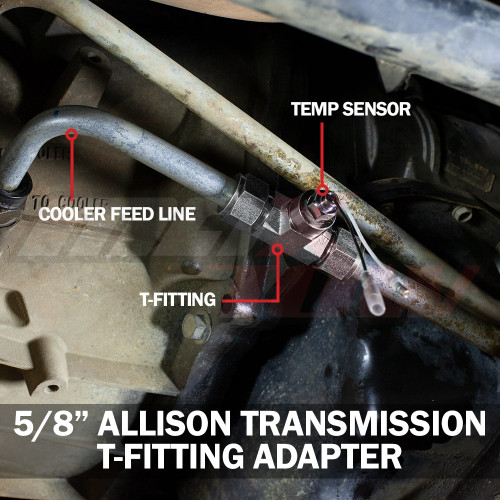 GM Duramax Allision 1000 Transmission Line T-Fitting Adapter Installed