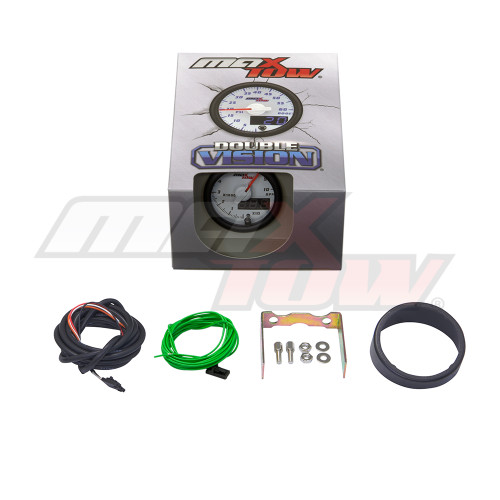 White & Blue MaxTow Tachometer Gauge Unboxed