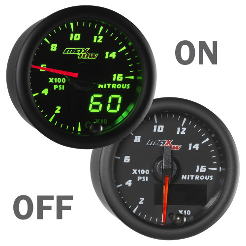 Black & Green MaxTow Nitrous Pressure Gauge On/Off