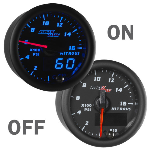 Black and Blue MaxTow Double Vision NOS Pressure Gauge On/Off