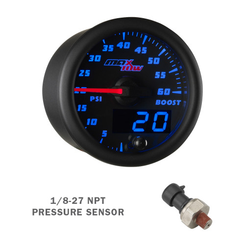 Black & Blue MaxTow 60 PSI Boost Gauge with 1/8-27 NPT Electronic Pressure Sensor