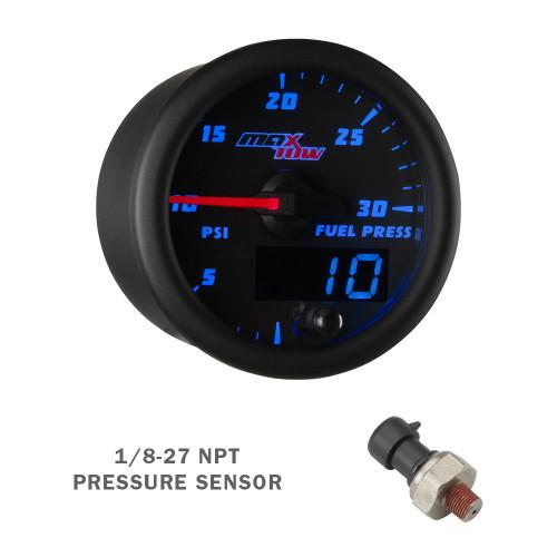 Black & Blue MaxTow 100 PSI Fuel Pressure Gauge with 1/8-27 NPT Electronic Pressure Sensor