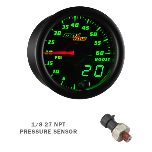 Black & Green MaxTow 60 PSI Boost Gauge with Electronic Sensor