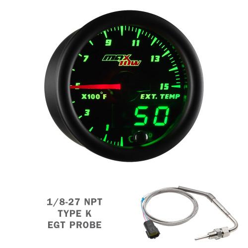 Black & Green MaxTow 1500 F Exhaust Gas Temp Gauge with Waterproof EGT Probe