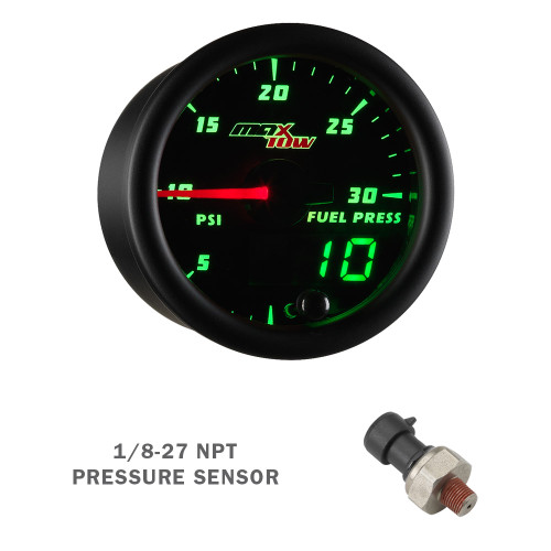 Black & Green MaxTow 30 PSI Fuel Pressure Gauge with Electronic Sensor
