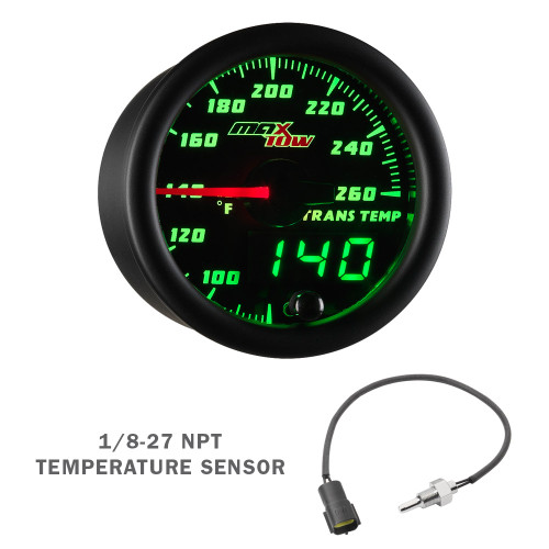 Black & Green MaxTow Transmission Temp Gauge with Electronic Sensor