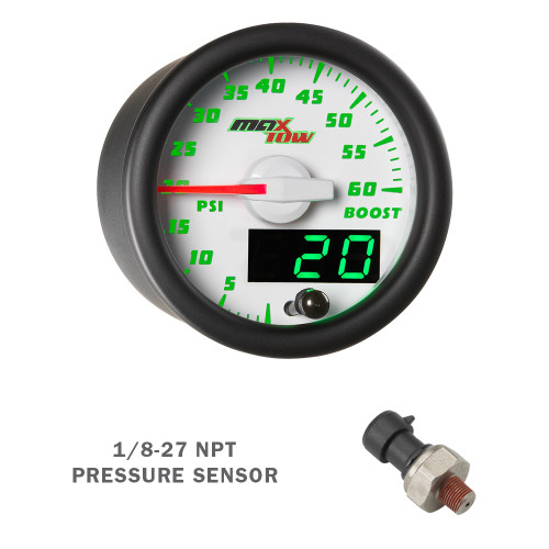 White & Green MaxTow 60 PSI Boost Gauge with Electronic Sensor