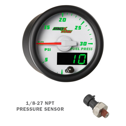 White & Green MaxTow 30 PSI Fuel Pressure Gauge with Electronic Sensor