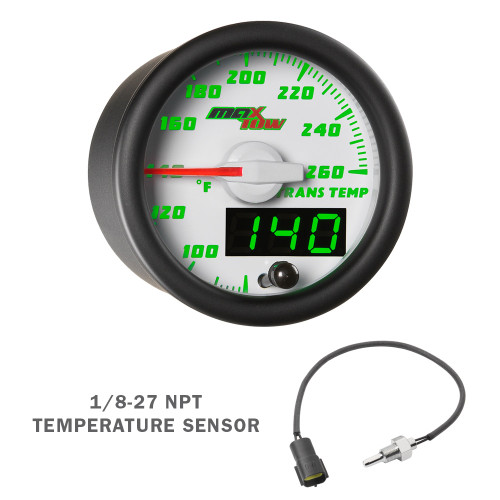 White & Green MaxTow Transmission Temp Gauge with Electronic Sensor