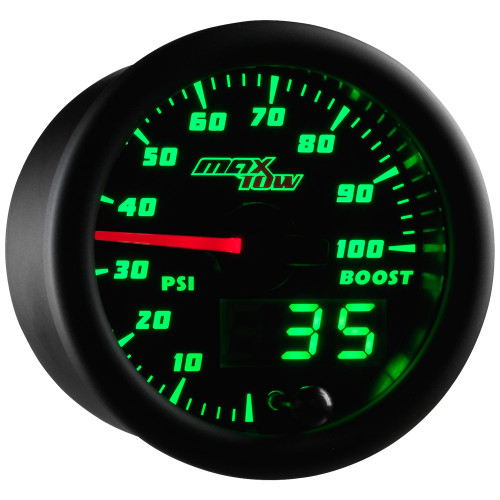 Black MaxTow Double Vision 100 PSI Diesel Boost Gauge