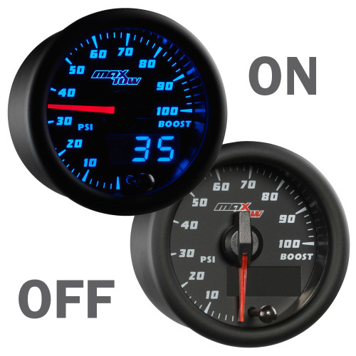 Blue MaxTow 100 PSI Boost Gauge On/Off