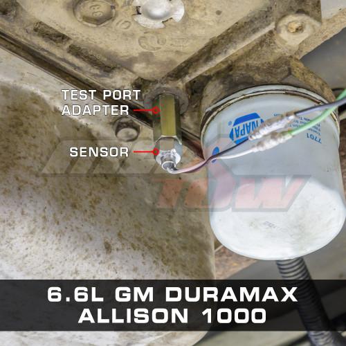 Test Port Adapter Installed to 2002 Chevrolet Silverado 6.6L Duramax Allison 1000 Transmission
