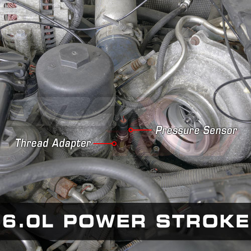 Oil Pressure Thread Adapter Installed to 6.0L Power Stroke