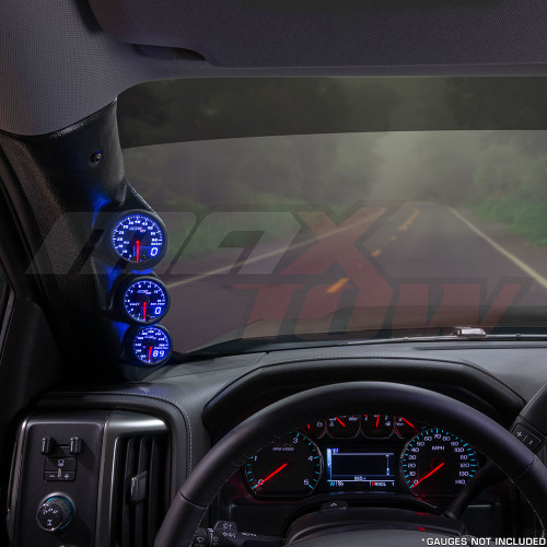 2014-2019 Chevrolet Silverado Duramax Triple Pillar Pod Installed Straight View