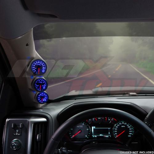2014-2018 Chevrolet Silverado Duramax Tan Triple Pillar Pod Installed Straight View